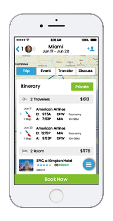 Cell phones showing trip bookings and TripEasy features