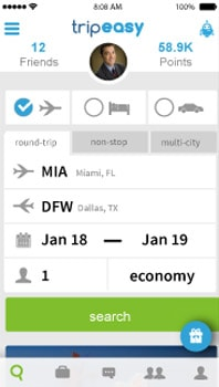 Cell phone showing travel booking